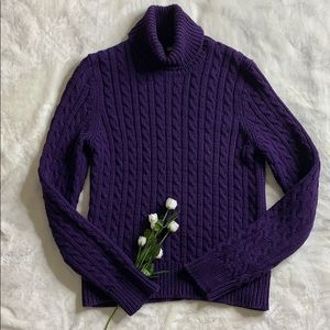 ANN TAYLOR Classic Cable Knit Turtleneck Sweater
